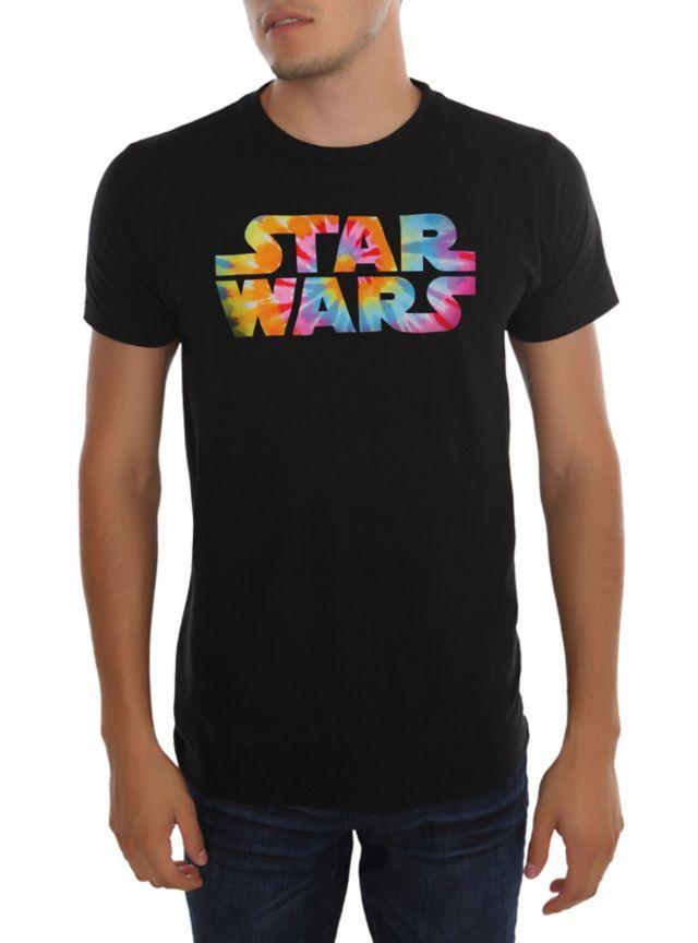 Black T-shirt with vibrant tie dye Star Wars logo design.