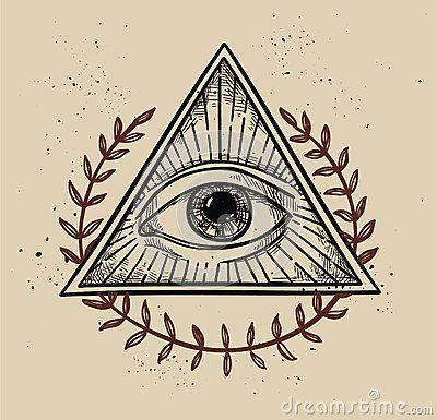 Illustration tirée par la main de vecteur - tout le symbole voyant de pyramide d oeil