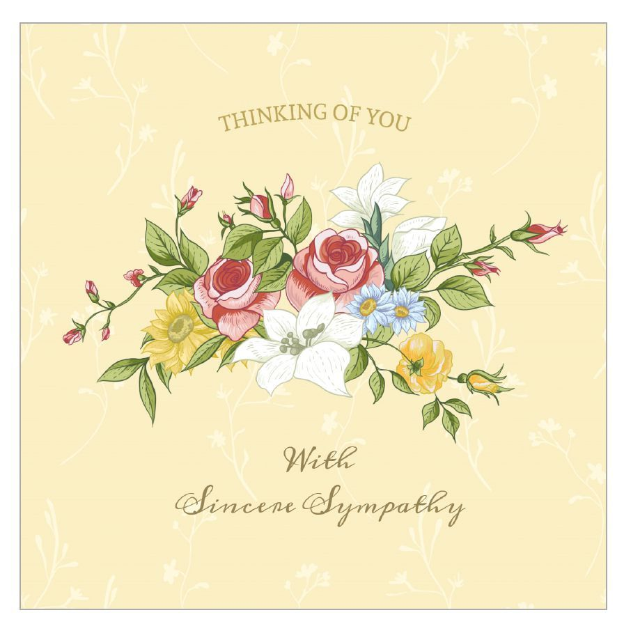 A sympathy card with a bouquet of flowers on it.  Sympathy cards