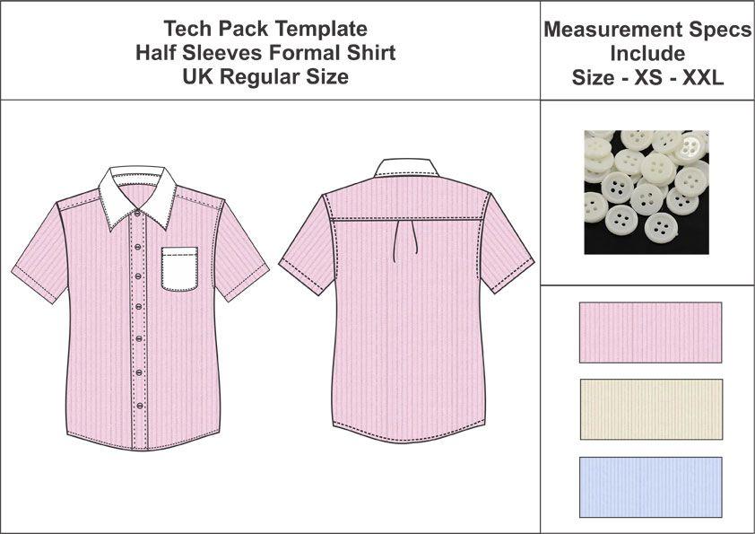 Tech Pack Template Mans Half Sleeves Formal Shirt UK