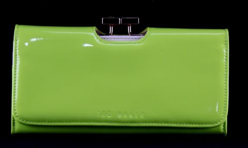 Women's TED BAKER Neon Green Leather Organizer Bifold Wallet