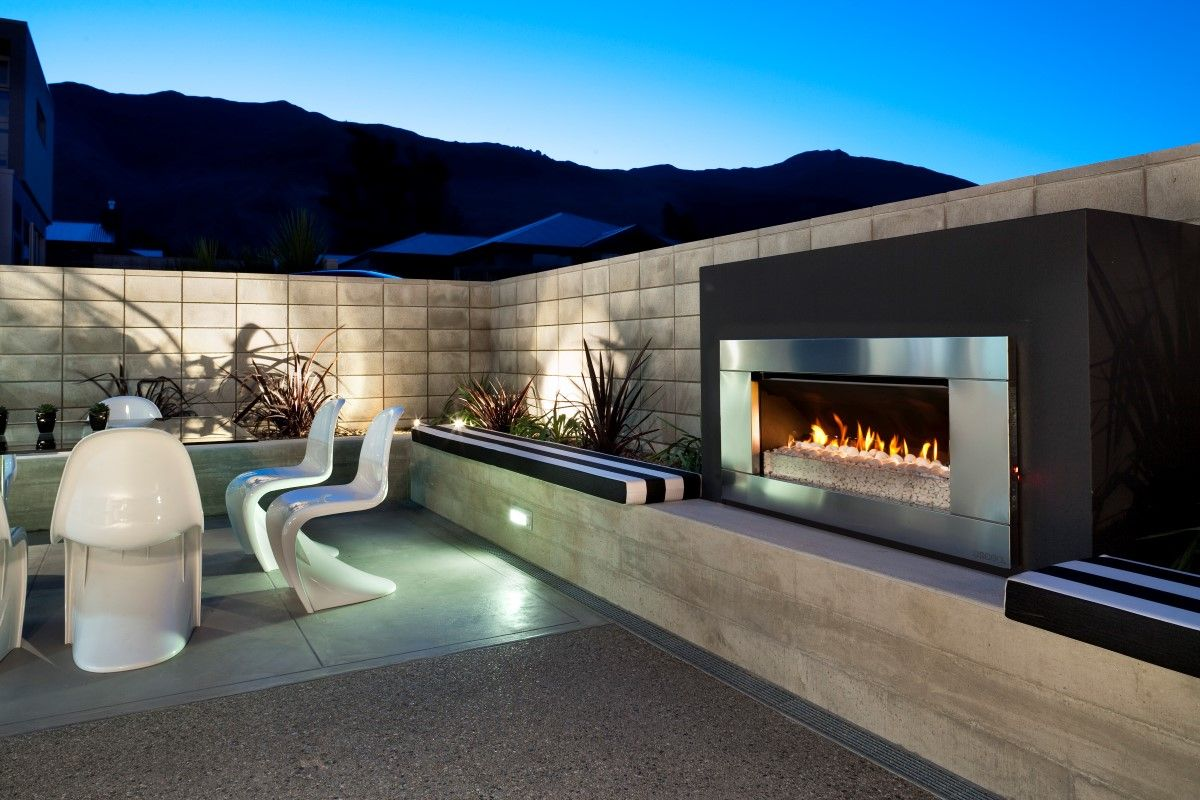 Charming Contemporary Outdoor Fireplace Plans