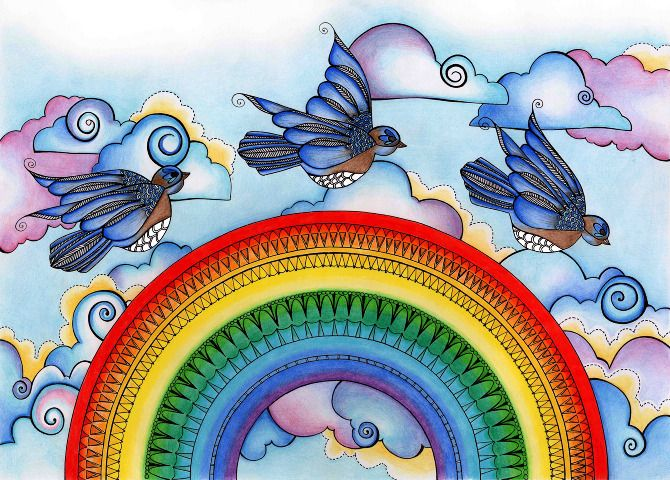 Bluebirds Fly Over The Rainbow Danielle Wood Illustration Wood Illustration Blue Bird Over The Rainbow