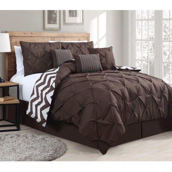 7 piece comforter set reversible bedding pinch pintuck and chevron queen brown
