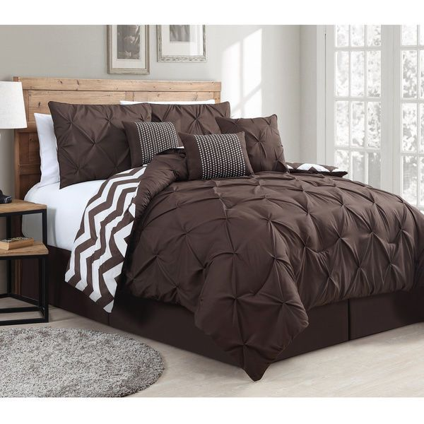 7 Piece Comforter Set Reversible Bedding Pinch Pintuck And