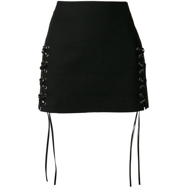 99c5b83e98 Helmut Lang laced mini skirt ($375) ❤ liked on Polyvore featuring skirts, mini  skirts, bottoms, black, short skirts, helmut lang, lace up front skirt, lace  ...