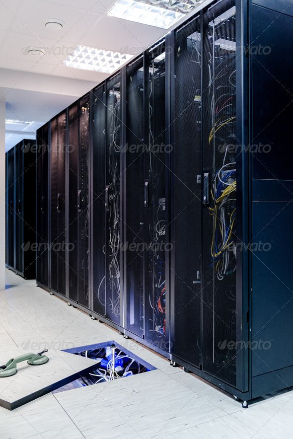Telecommunication Room Design: Server Room ... Background, Business, Cable, Case, Closeup