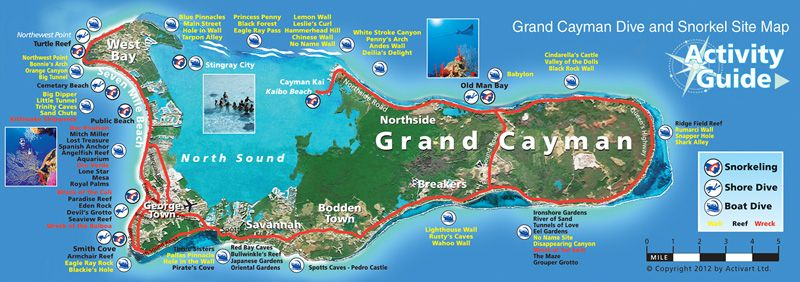 cayman islands dive sites map  General  Pinterest  Grand cayman