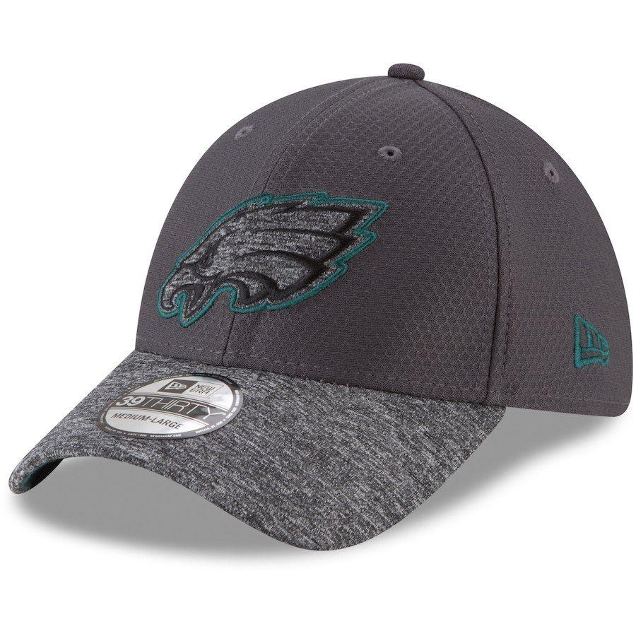 15b102111 Men s Philadelphia Eagles New Era Graphite Heathered Gray Popped Shadow 39THIRTY  Flex Hat