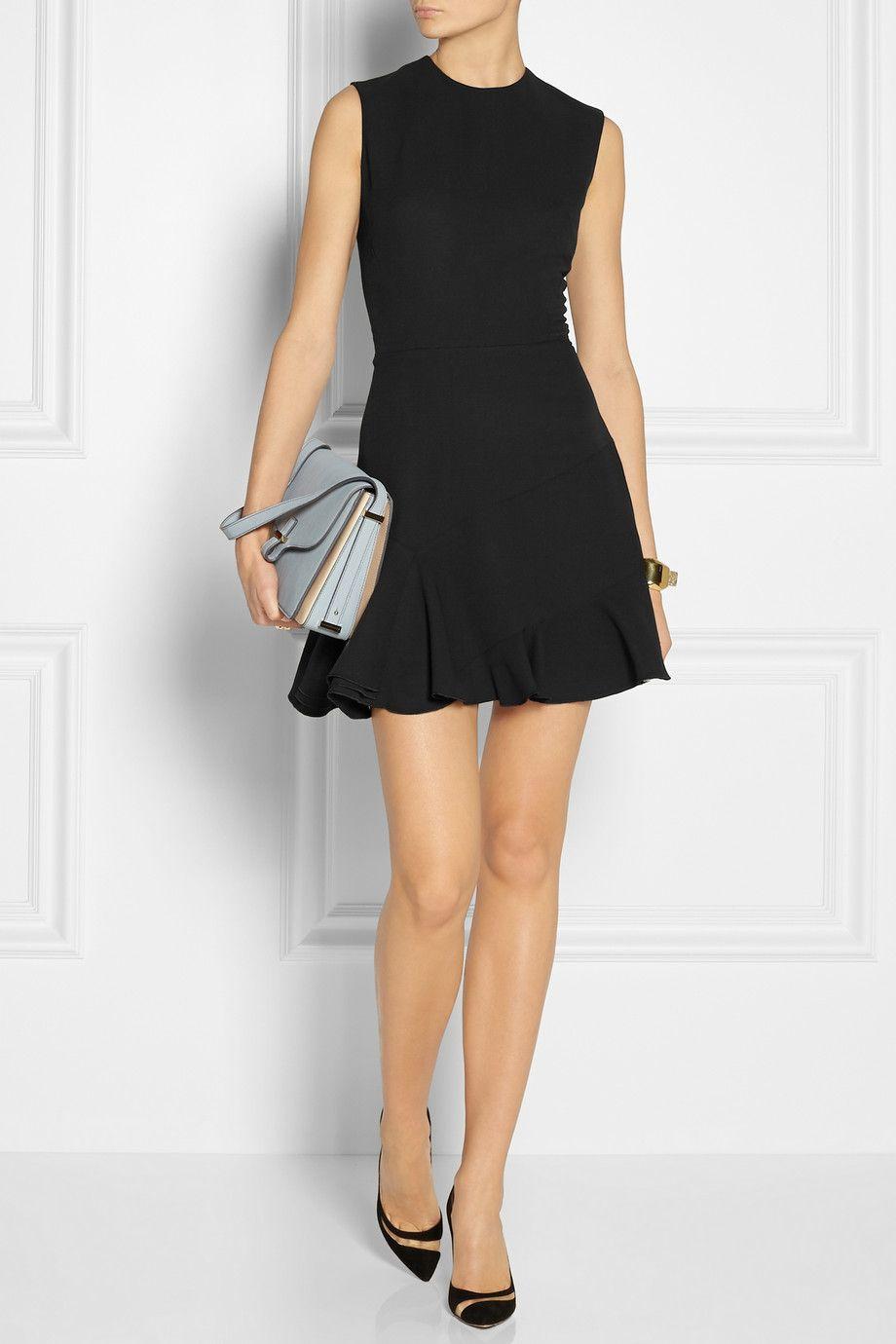 Victoria Beckham Silk Wool Blend Crepe Dress Dresses Fashion Little Black Dress [ 1380 x 920 Pixel ]