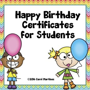 Happy Birthday Certificates for Students | Certificate, Students and ...