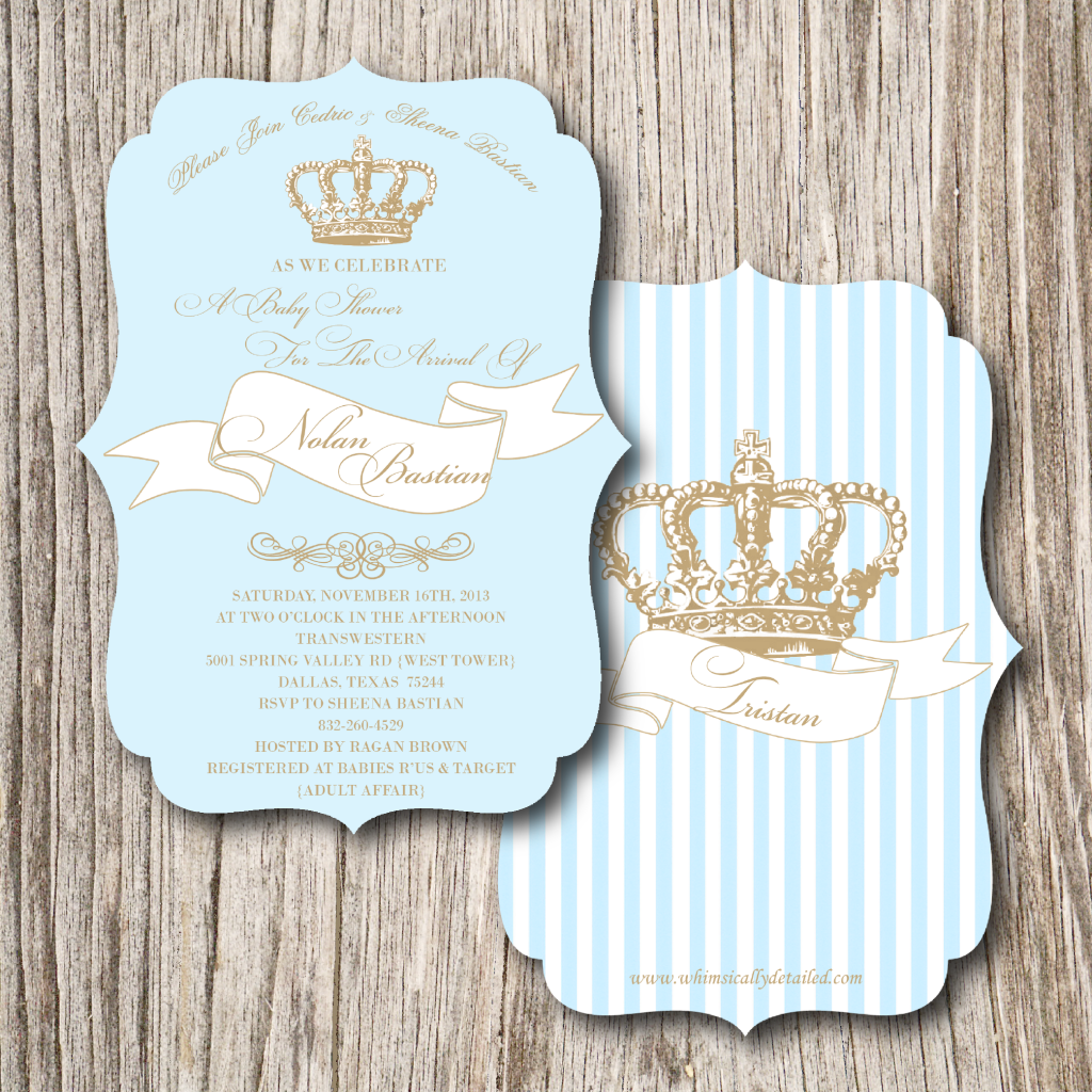Ok seriously this is an adorable idea for a boy baby shower for little prince baby shower invitations filmwisefo Image collections