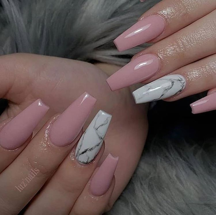 Marble Nail Design Dusty Rose Pink Nails Rose Pink Nails Dusty Pink Nails Pink Nail Art