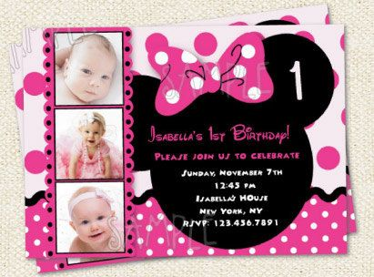 Minnie Mouse Inspired Custom Photo Birthday Party Invitations