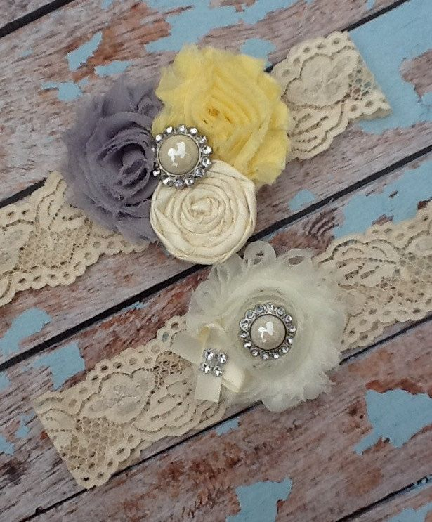 Wedding Garter / Bridal Garter / Grey And Yellow / Lace