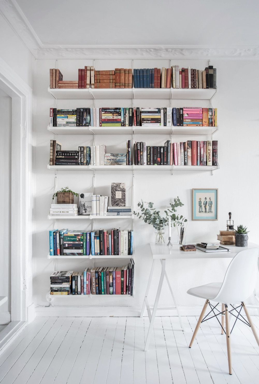 Work Space Book Shelf Inspiration Via Lundin House Interior