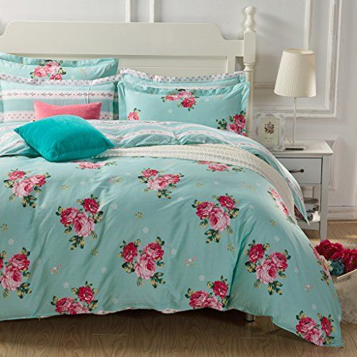 e64f0cfe377f FADFAY Aqua Bedding Set Red Flower Romantic Girls Duvet Cover Sets Queen  Size 4PCS    Find out more about the great product at the image link.