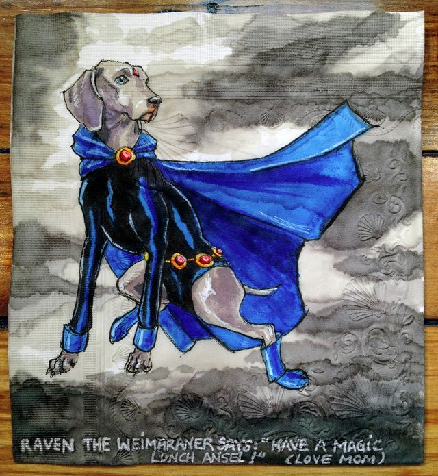 Raven the Weimaraner - Artist draws superpowered canines on her sons lunch napkins