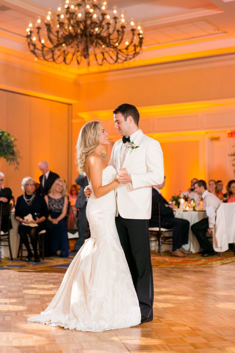 Bride And Groom First Dance At Wedding Reception Tampa Venue Marriott Waterside