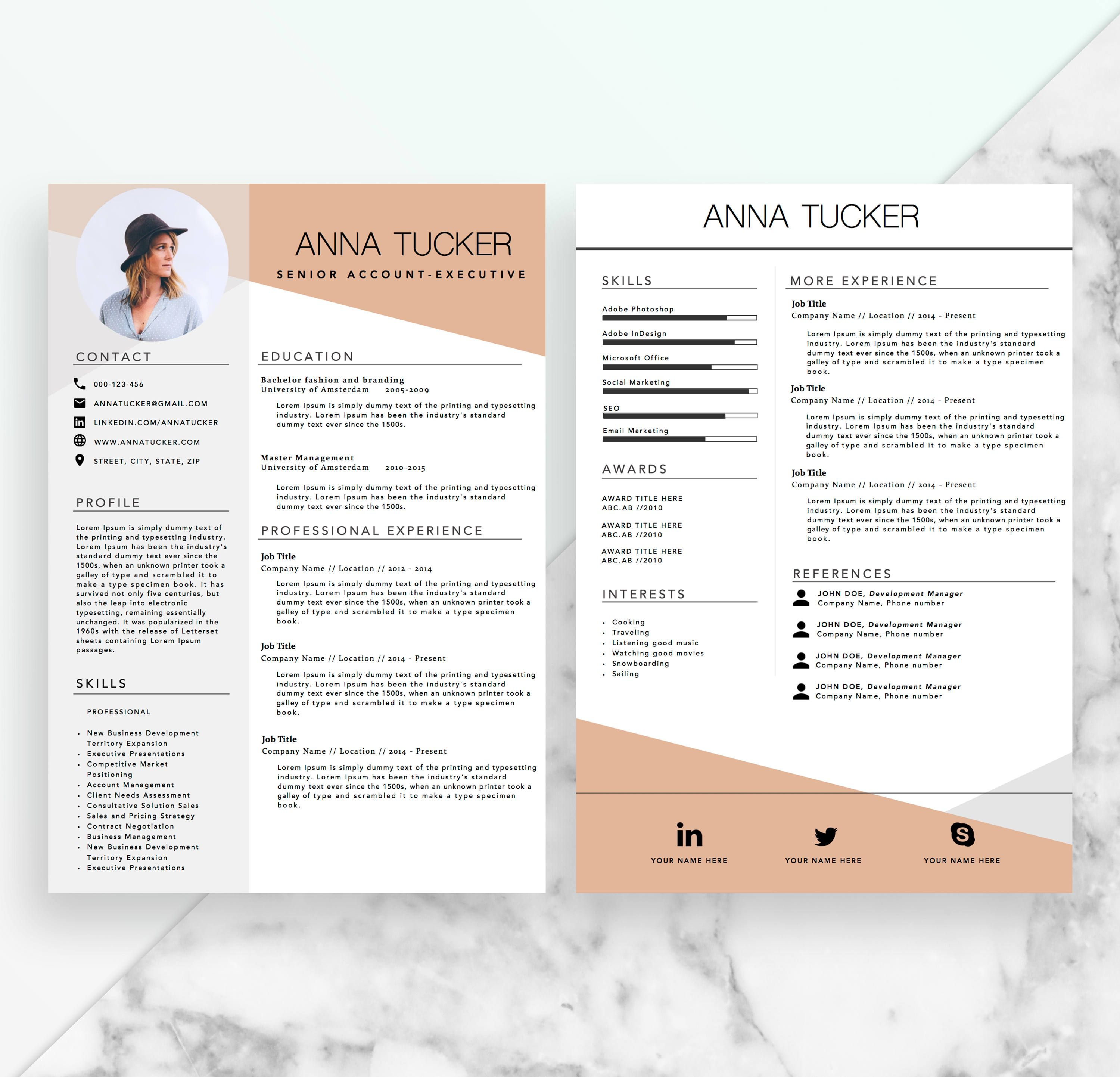 Modern Resume Template Cv Template Professional And Creative Resume Word Resume Instant Download Docx Cv Template Professional Modern Resume Template Resume Words