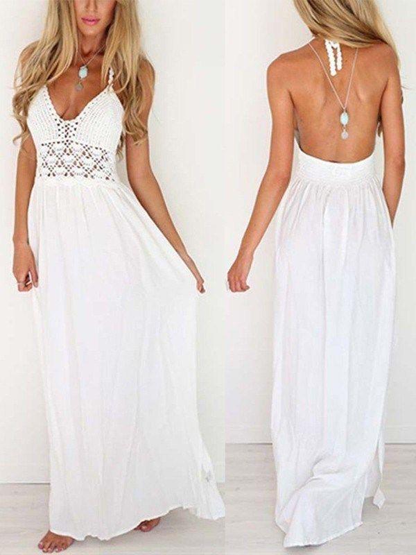 186d7b85876 Womens Summer Dresses White Party Maxi Dress Long Beach Dress Bohemian  Loose  Unbranded  LaceDress  Casual