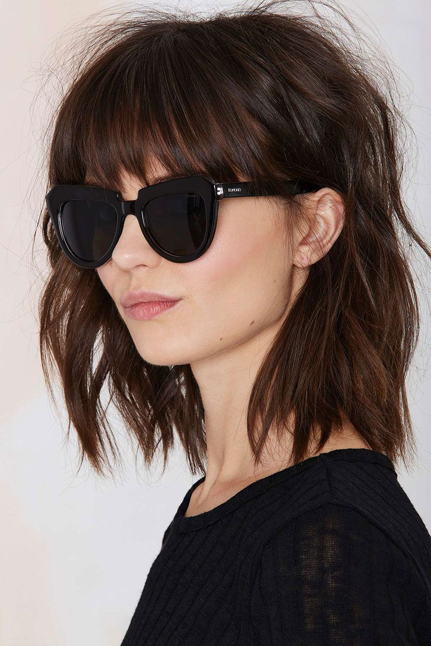The hair color inspo youuve been looking for dark brown fringes