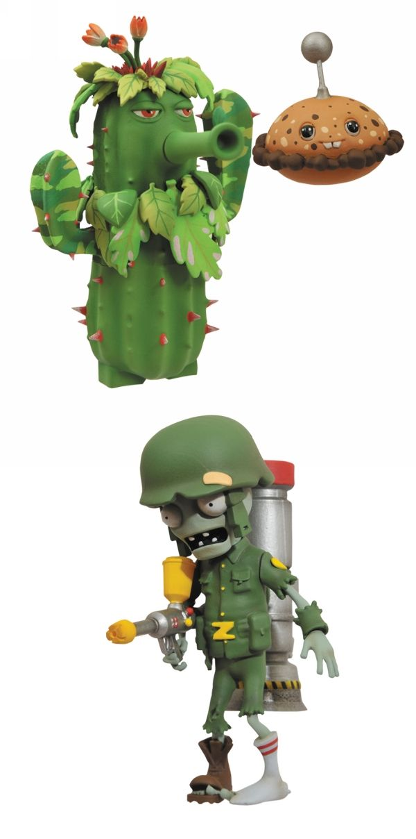 Plants Vs Zombies Garden Warfare Select Solr Zombie Ghillie Cactus 2 Pack Action Figure By Diamond