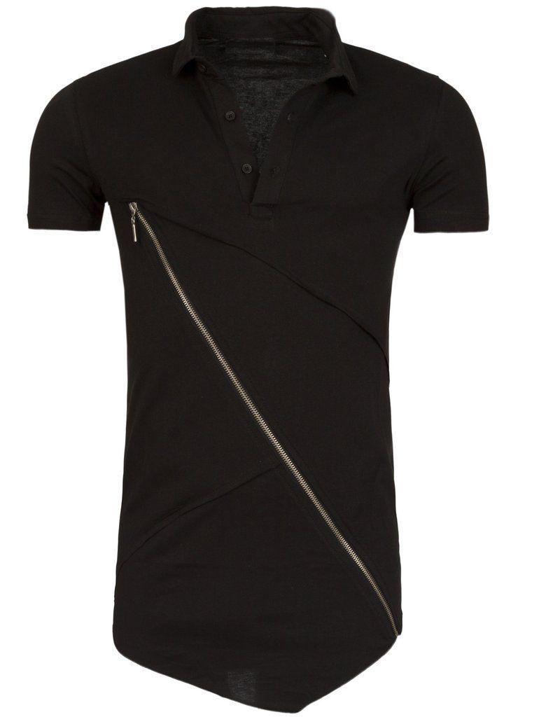 Y R Men Asymmetrical Cross Zipper Polo Shirt - Black  e1254715b632d
