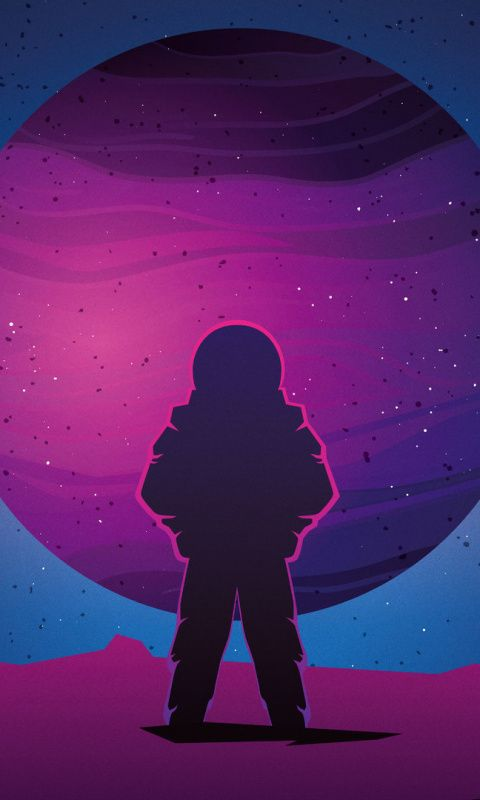 Astronaut, vaporwave, minimal, space, art, 480x800