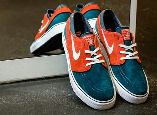 While Jordan Brand is pairing dark sea green with gym red, Nike SB is  blending the soft shade with team orange. The color combo is featured on  the Janoski