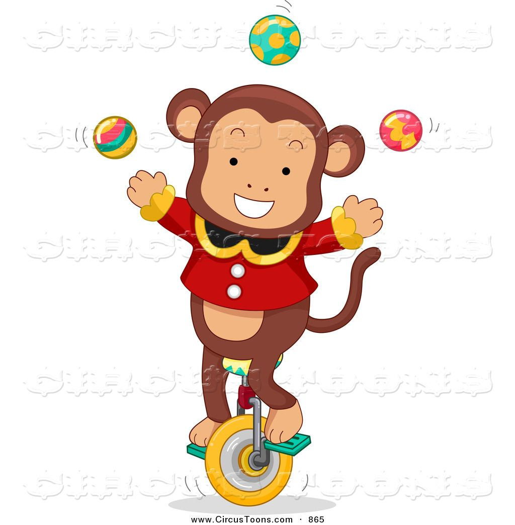 Circus Animals Clip Art | Circus Clipart of a Cute Juggling Monkey ...