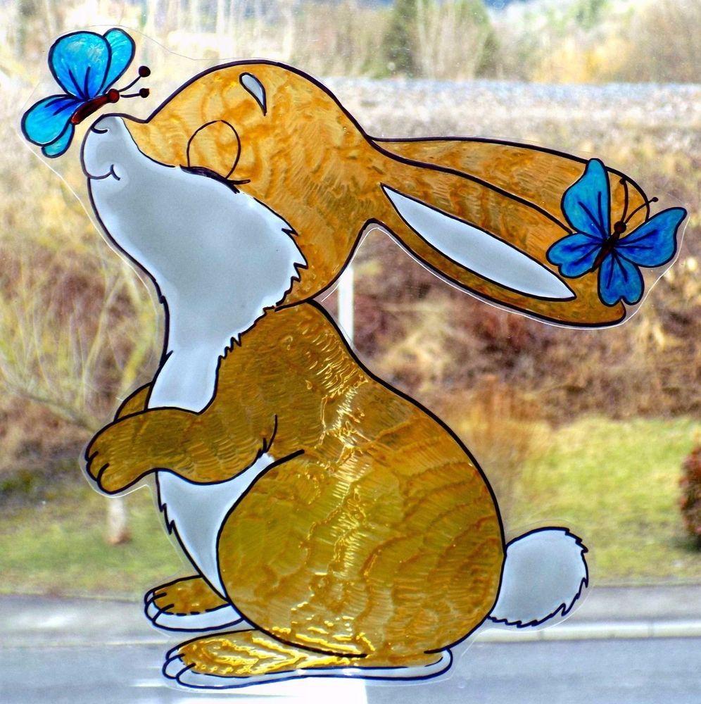 FensterBild Printemps Pâques renard arbre réutilisables Fenêtre Autocollant