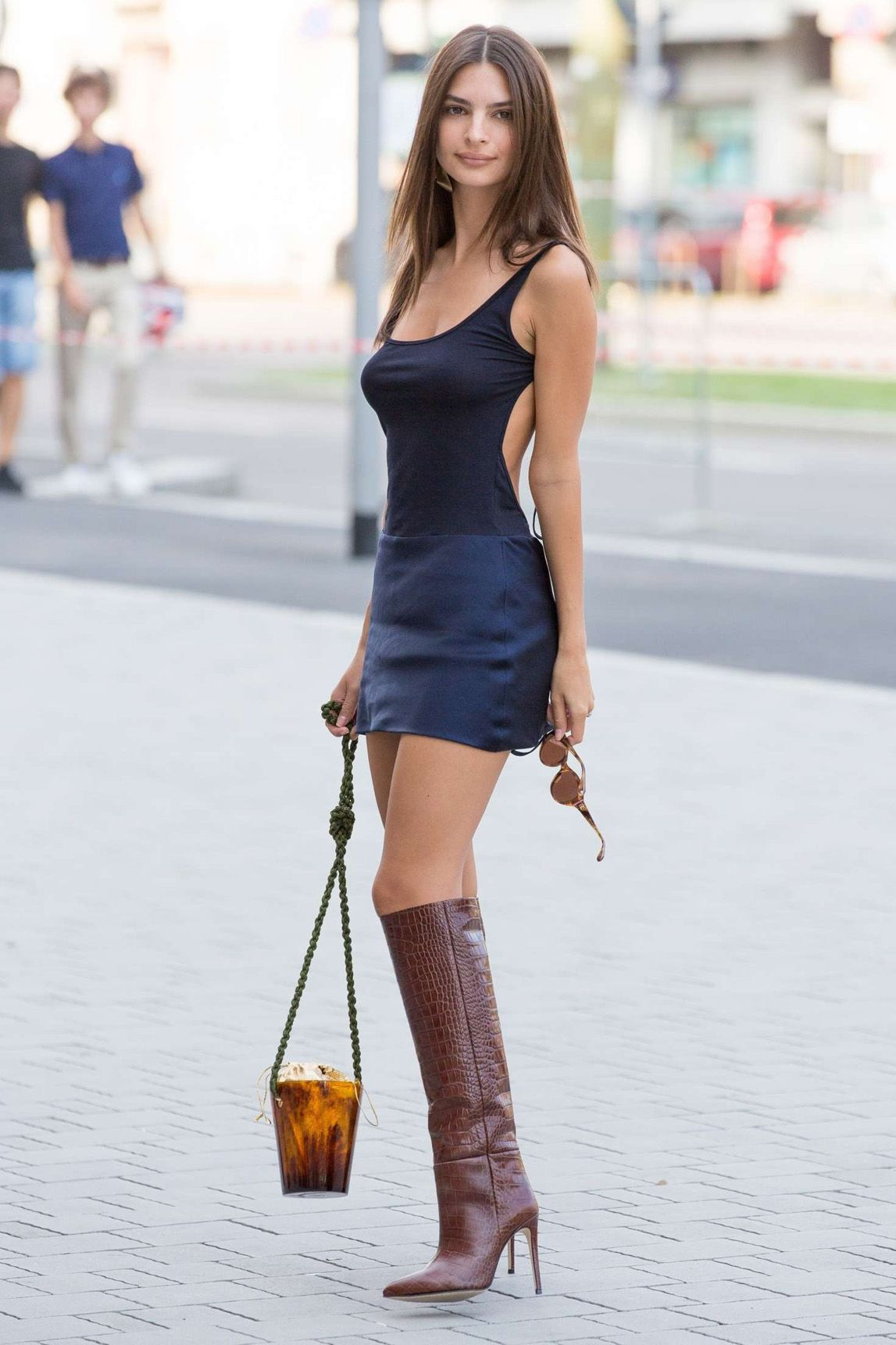 f645e7dd39 Emily Ratajkowski in Mini Dress Arriving at the Versace Show in Milan