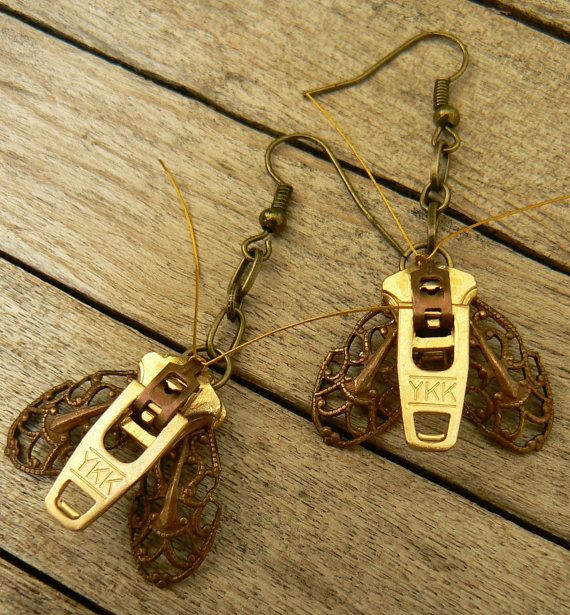 Steampunk Earrings - Zipper Earrings - Moth Earrings - Dangle Earrings on Etsy, $23.00