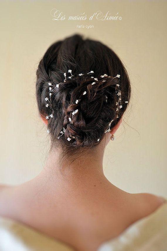Beaded gypsophila Headpiece Bridal Hair Piece Wedding Hair Vine Crystal beaded head piece
