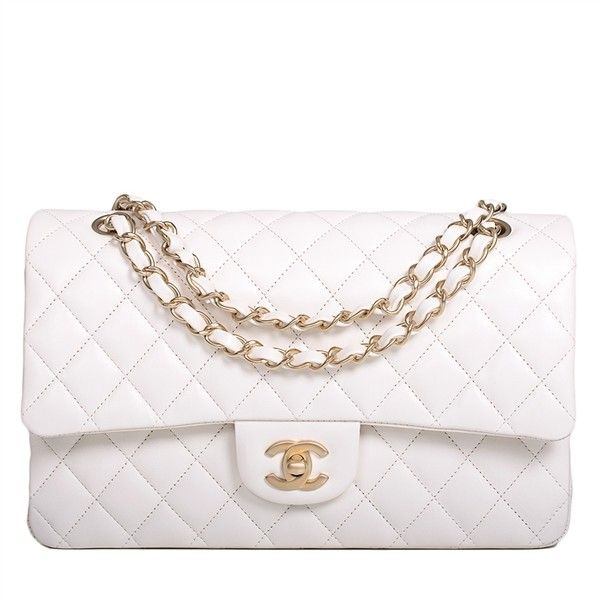 04f3ac45c015a Chanel White Quilted Lambskin Large Classic 2.55 Double Flap Bag with...  ( 6