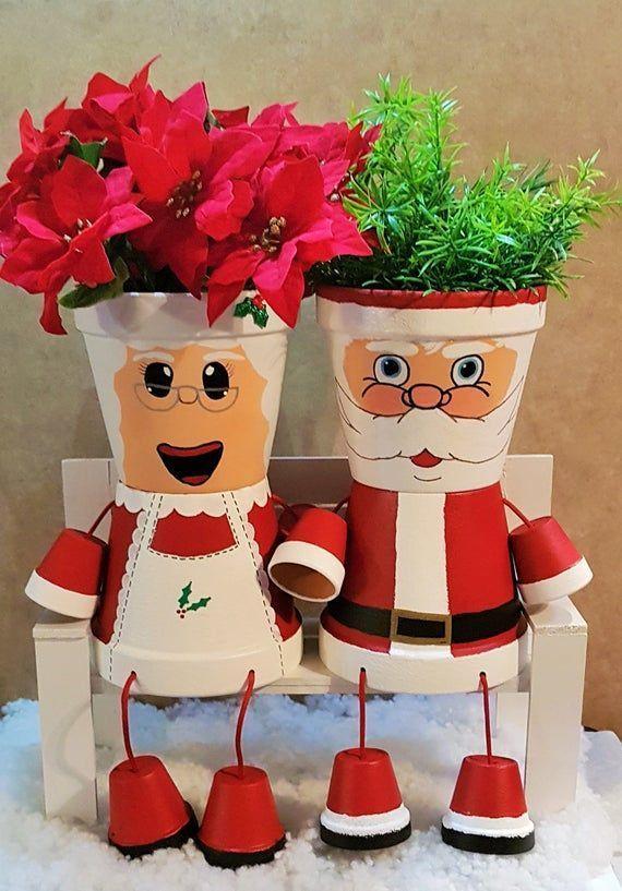 Frau Claus Clay Pot People Christmas Planter und Süßigkeitenschale Frau Claus Clay Pot People Christmas Planter und Süßigkeitenschale