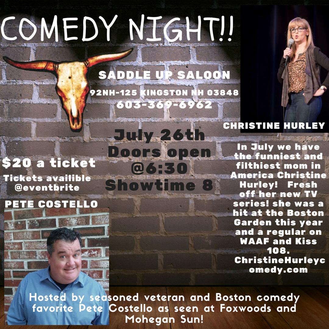 Comedy Night At Saddle Up Saloon Kingston New Hampshire July 26th