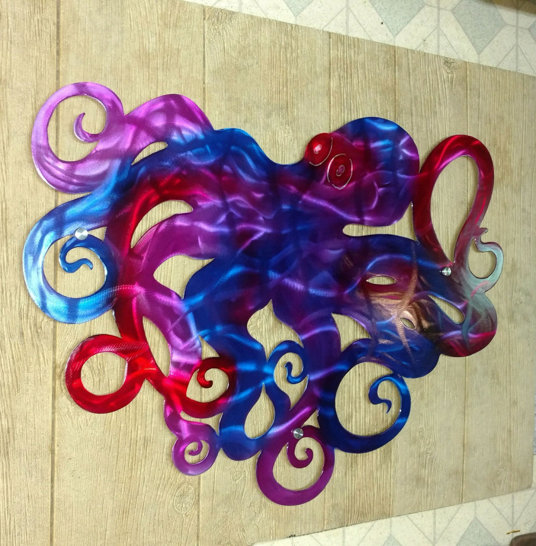 Octopus Metal Wall Art Large Octopus Sculpture Outdoor Patio