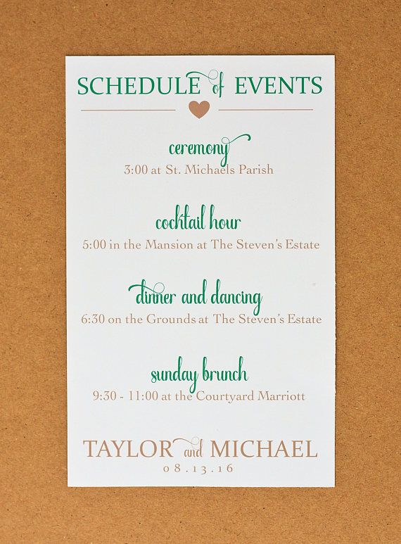 Wedding Itinerary Cards - Printed Wedding Schedule of Events