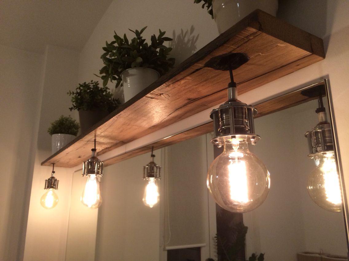 Badezimmerlampe Aus Alten Waggonbohlen Badezimmerlampe Lampe Spiegelschrank Beleuchtung