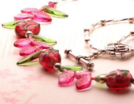 Necklace of Pink Roses Ultra Feminine Lampwork Beads   GracefulArts - Jewelry on ArtFire