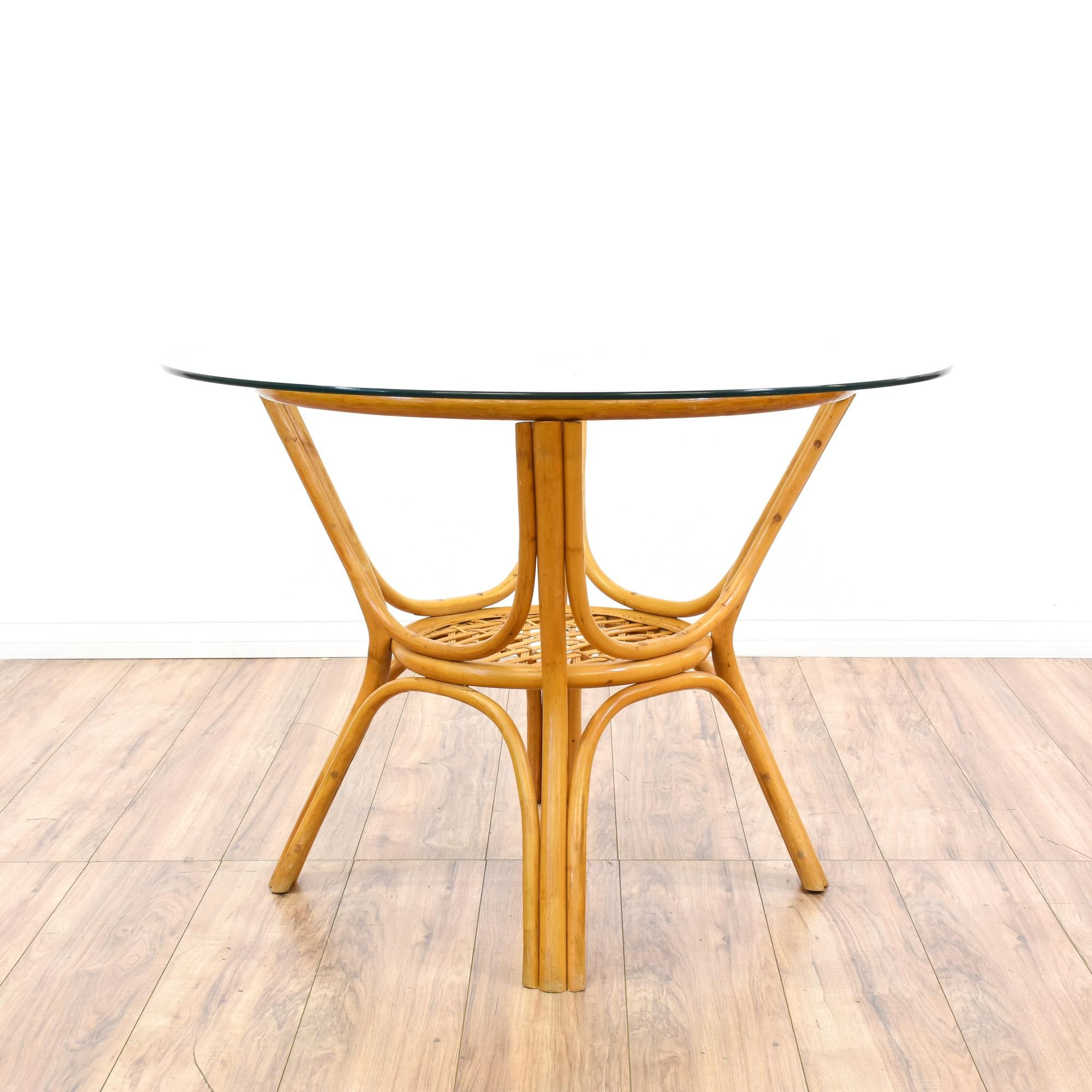 Tropical Rattan Glass Top Dining Table | Round glass table top