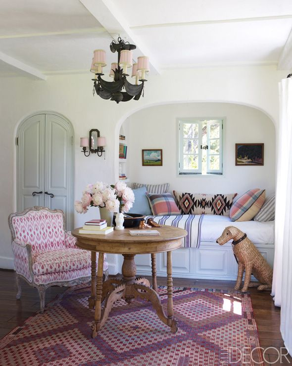 patterned french chair  Reece Witherspoon's Ojai, California home in Elle Décor