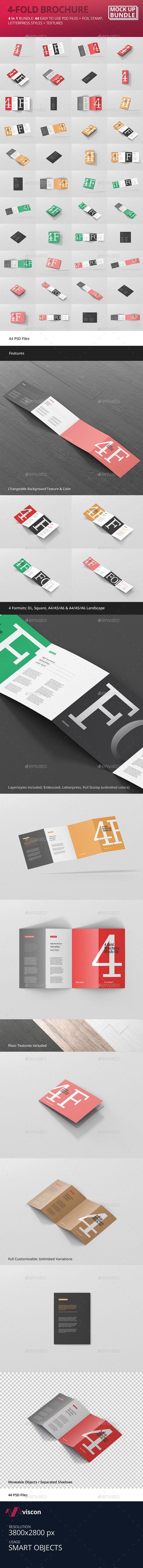 4 fold brochure mockup bundle