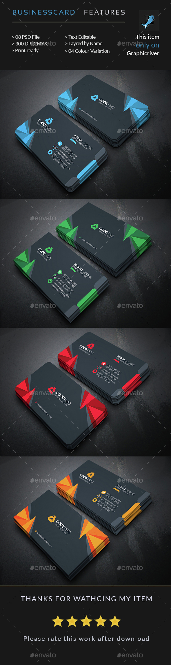 Corporate Business Card — Photoshop PSD #white #pack • Available ...