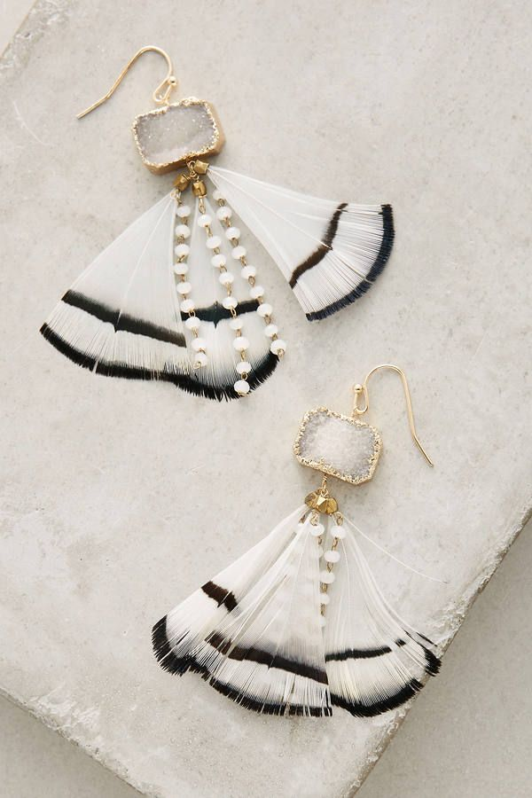 dbdc11a7735d98 Anthropologie Feathered Druzy Earrings | Jewelry in 2019 | Earrings ...