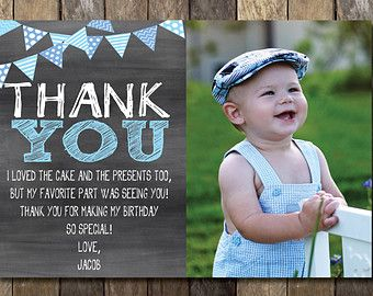 Printable Birthday Invitations For Boy ~ Printable chalkboard thank you card with picture st birthday