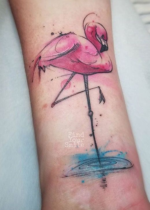 Photo of Russell Van Schaick flamingo tattoo. Like flamino standing in water