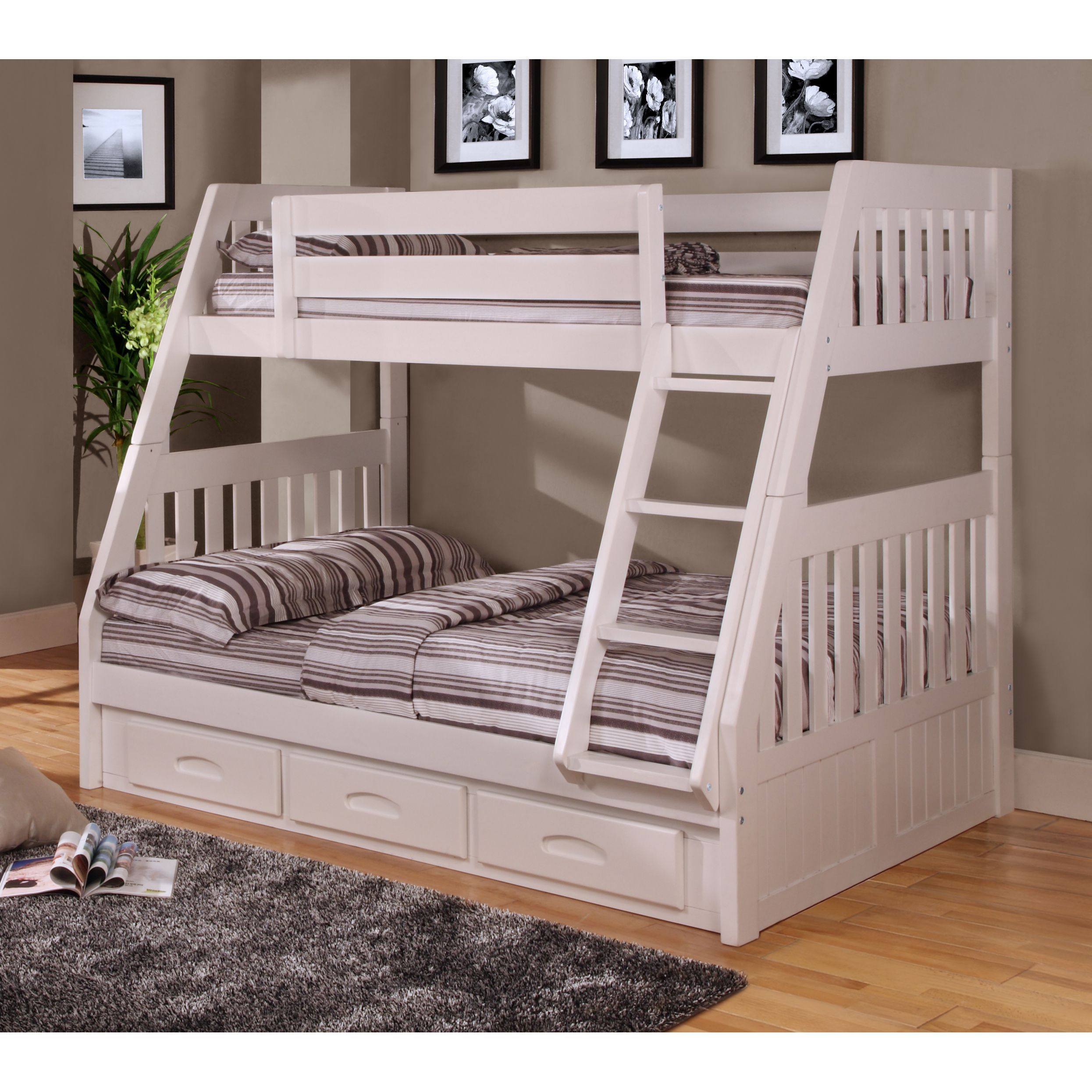 Loft bed with slide wayfair  White Finish Pine Wood Twinoverfull Bunk Bed with Drawers and